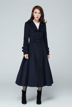 Navy Coat, Black Wool Coat, Winter Coats Women, Coats For Women, Clothes For Women, Mode Mantel, Dress Neck Designs, Plus Size Coats, Vestidos
