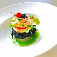 Shrimps Tartare, Squid Spaghetti, Salmon, Caviar, Ramson