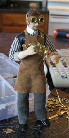 Steampunk Miniatures. The clothing on this doll is especially well done!