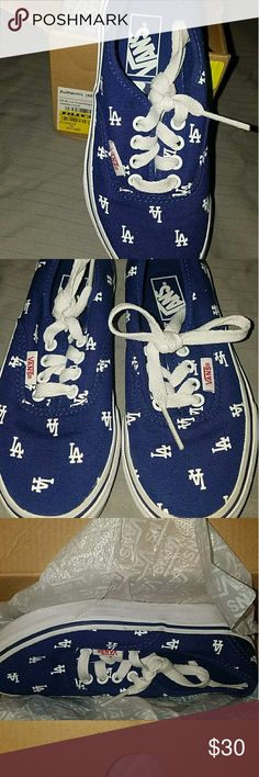 Authentic MLB Boy's LA Dodgers Blue in Sz: 13 Authentic MLB Boy's LA Dodgers Blue in Sz: 13  Only worn once.  Please Note: All items are described to the best of my ability.  Please ask all questions before purchasing Non Smoking & Pet Free Home USPS Shipping Available for added fee Vans Shoes Sneakers