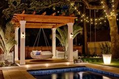 Pool Area with Swing Bed, Pergola and Lighting