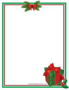 green and red border with a clip art picture of a gift free christmas borderschristmas templateschristmas - Free Christmas Border Templates