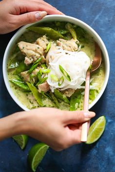 Everyones favorite Thai green curry can be made right at home into the coziest most comforting chicken soup ever! Yummy Chicken Recipes, Yum Yum Chicken, Soup Recipes, Dinner Recipes, Chicken Soups, Thai Chicken, Crack Chicken, Chop Suey, Korma