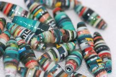 Paper beads handmade and upcycled greens and red super glossy x 24 £2.25