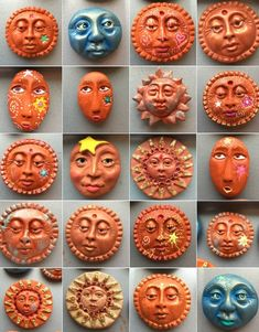 Molded, Altered, Painted Polymer Clay Faces, by Karen A. Polymer Clay Magnet, Clay Magnets, Fimo Clay, Polymer Clay Beads, Clay Art Projects, Polymer Clay Projects, Clay Faces, Art Faces, Room Deco