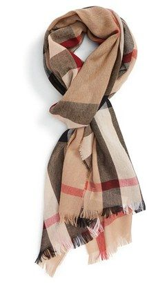 Shop Now - >  https://api.shopstyle.com/action/apiVisitRetailer?id=504458805&pid=uid6996-25233114-59 Men's Burberry Check Wool & Cashmere Scarf  ...