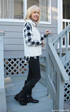 Fashion over 50, Old Navy black and white buffalo check shirt with black jeans and boots.