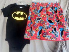 girls BATMAN 2 piece outfit onesie and skirt by LaLaLandGirlystuff, $22.50