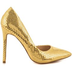 Liliana Women's Samson - Gold ($55) ❤ liked on Polyvore featuring shoes, gold, synthetic shoes, python shoes, dorsay shoes, gold high heel shoes and pointy toe shoes