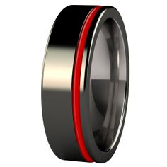 Men's Zuzu Black Diamond Plated with Red Enamel Wedding Band. Love that hint of RED ;)