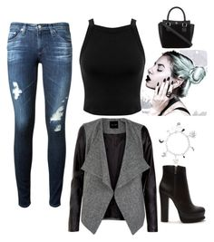 """""""I love black"""" by andy-ag on Polyvore featuring AG Adriano Goldschmied, Miss Selfridge and Forever 21"""