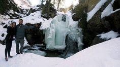 Enjoying the ice covered lower falls at Crawford Falls, Kelowna, BC
