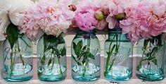 Peonies in vintage ball jars