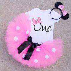 One Birthday Shirt Minnie Mouse Inspired 1st by ValerieandVivienne