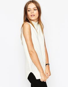 ASOS Sleeveless Jumper In  Chunky Knit With High Neck