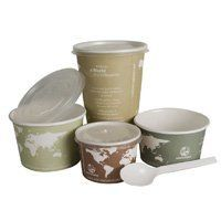 Eco-Products Soupcup lid 500 Count by Eco-Products. $61.59. Fits 12, 16 and 32 oz. cups. Compostable in a commercial compost facility in as little as 45 days. Biodegradable Products Institute Certified. Looks and feels like conventional soup cups. Made from renewable resources. World Art Soup Cups are great for to-go soup. Lined with IngeoTM plant based plastic, these cups look and feel like conventional soup cups but their lining is derived from domestic plants, not oil.
