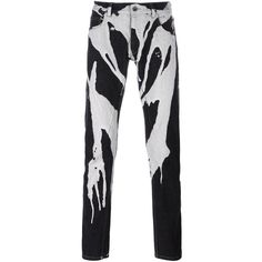 Rick Owens DRKSHDW paint drip straight leg trousers ($1,070) ❤ liked on Polyvore featuring men's fashion, men's clothing, men's pants, men's casual pants, black and mens cotton pants