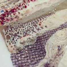 Emily Notman Embroidered Wall Piece A pearls hessian burnt holes Embroidery Applique, Embroidery Patterns, Machine Embroidery, Textile Fiber Art, Textile Artists, Fabric Embellishment, Creative Arts And Crafts, Creative Textiles, Texture Art