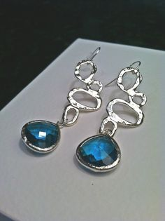 Silver Plated Funky Link with Montana Blue Glass by PacificAndKey, $23.00