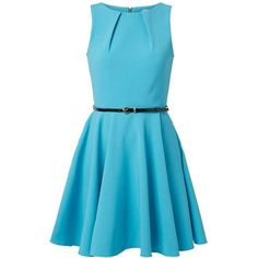 Closet Turquoise Belted Skater Dress ($20) ❤ liked on Polyvore featuring dresses, vestidos, short dresses, blue mini dress, sleeveless skater dress, short-sleeve skater dresses and blue dress