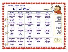 Daycare Lunch Menu | Preschool Lunch Menu | Lansdale Day Care ...