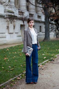 At Paris Fashion Week: Student Kamel pairs classic '70s with a modern metallic…