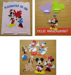 Kit para decoração de sala de aula, confeccionado em EVA, no tema Mickey e suaTurma, composto de: <br>01 painel de AJUDANTE DO DIA de 40x50cm; <br>01 painel de ANIVERSÁRIO de 40x50cm; <br>06 apliques de 30cm de altura (Mickey, Minnie, Pluto, Margarida, Donald e Pateta). Com fita dupla-face no verso para fixação.