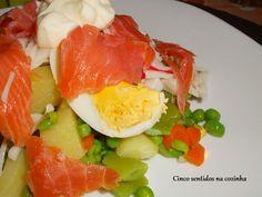 Cinco sentidos na cozinha: Salada russa com salmão fumado e lombinhos do mar