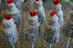 Mini wedding cake pops with hearts on top!