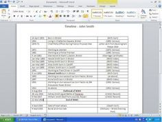How To: Make a Genealogy Timeline ~ very simple working research timeline created using Word. Free Genealogy Sites, Genealogy Search, Genealogy Humor, Genealogy Forms, Genealogy Chart, Family Genealogy, Genealogy Organization, Family Research, Family Roots
