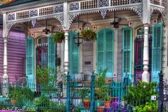 Teal shutters, New Orleans style
