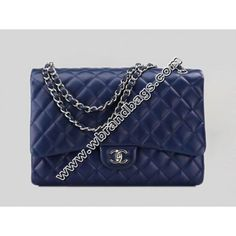 252779cf1400fe New Chanel 2010 Cruise Collection Navy Blue Maxi Classic Bag With Flap( Silver Hardware)