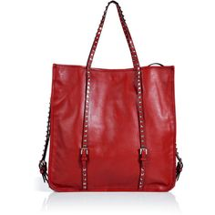 VALENTINO Red Studded Leather Bag ($1,774) ❤ liked on Polyvore featuring bags, handbags, tote bags, purses, valentino, red, red leather tote, leather handbags, red tote bag and leather man bags