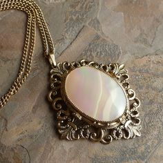 Vintage Whiting Davis Mother of Pearl Pendant Necklace, Goldtone Necklace, Whiting