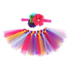 Colourful Tropical Tulle Skirt With Matching Flower Headband from kidspetite.com!  Adorable & affordable baby, toddler & kids clothing. Shop from one of the best providers of children apparel at Kids Petite. FREE Worldwide Shipping to over 230+ countries ✈️  www.kidspetite.com  #baby #skirts #newborn #infant #girl
