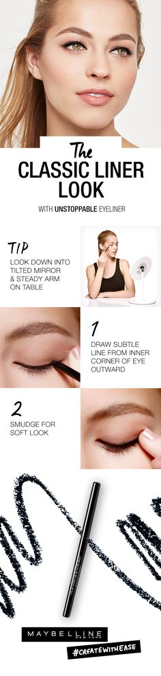 Searching for how to create the classic liner look? If applying natural looking liner feels anything but, try resting your arm on a table and looking down into a tilted mirror. For this tip and more, click through to check out our step-by-step liner video tutorials at the Maybelline Liner Gallery. You'll learn how to perfect everything from this classic liner look to bold smokey eyes.
