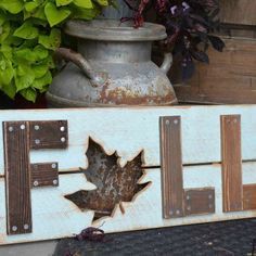 s here s how insanely creative people get ready for holiday guests, home decor, seasonal holiday decor, woodworking projects, Fall Scrap Sign
