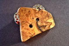 Handmade wooden button cherry burl wood odd by MaritimeMapleWorks, $7.99
