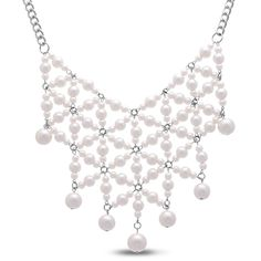 Pearl bib style necklace hot trend. #pearls #weddings #formal #necklaces #pearl