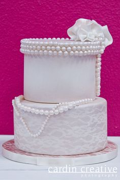 Lace and Pearls Wedding Cake | by Gimme Some Sugar (vegas!)