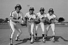Phillies infielders, left to right: Mike Schmidt, Larry Bowa, Manny Trillo, and Pete Rose. March 5th 1979