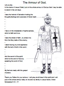 Armour of God Sunday school lesson, crafts and coloring pages