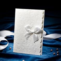 Delicate Embossed Wedding Invitation With Satin Bow (Set of 50) – EUR € 49.49
