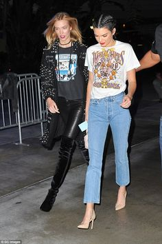 Strutting: The glam duo made the side-walk their catwalk