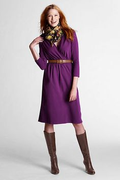 Women's 3/4-sleeve Crepe Jersey Gathered Surplice Dress from Lands' End