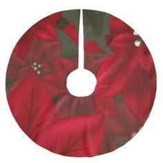 Christmas Red Poinsettia Tree Skirt #christmas #treeskirts #xmas #tree