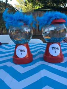 Dr Seuss cat in the hat thing 1 and thing 2 center pieces