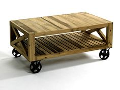 Unique DIY Coffee Table | This is about as close as I could get. I do love the wheels on this