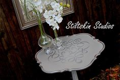 Lovely table Stiltskin Studios stenciled with our Ribbon Damask stencil and Antique Silver Royal Stencil Creme!