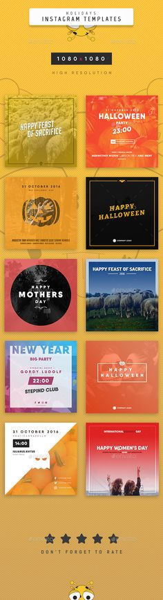 Holidays Instagram Templates  — PSD Template #new year instagram template…